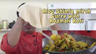 Aloo Shimla Mirch Sabzi with Rumali Roti - Capsicum Potato recipe