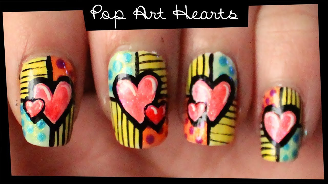 Pop Art Hearts Nail Art Youtube