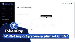 TokenPay l Wallet Import (recovery phrase) Guide!