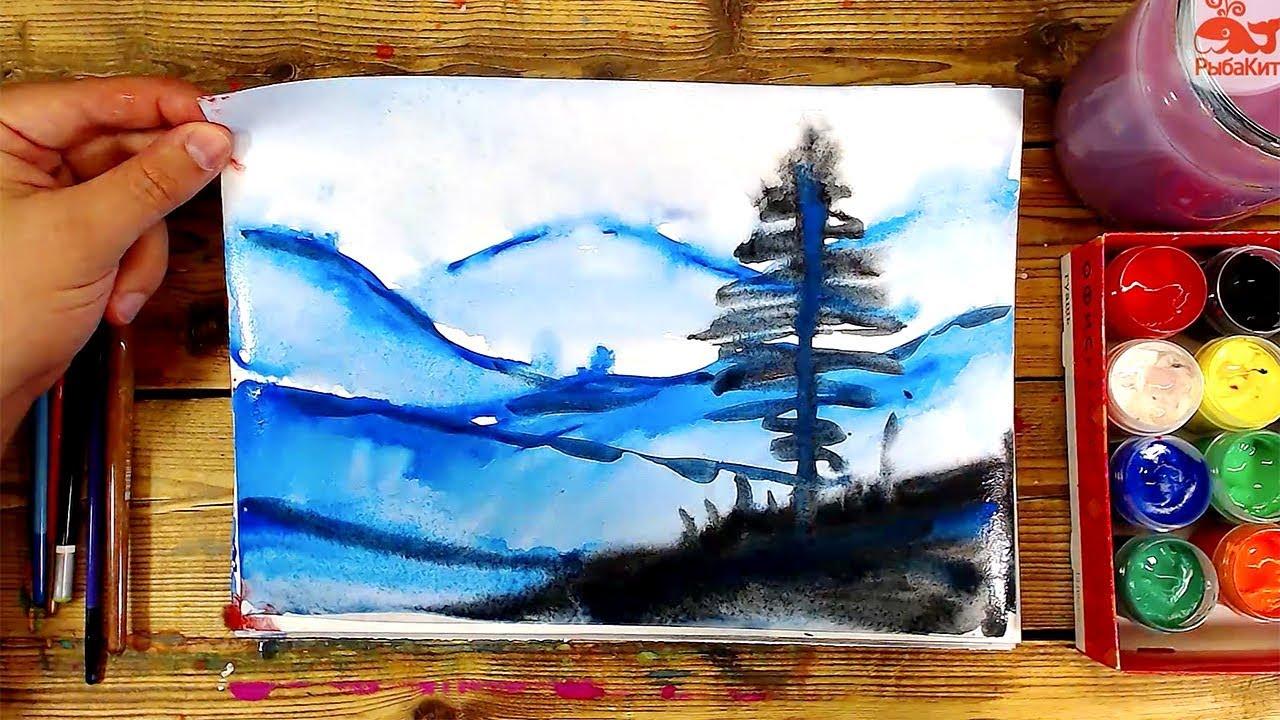 Как нарисовать ГОРЫ пейзаж / урок рисования для начинающих