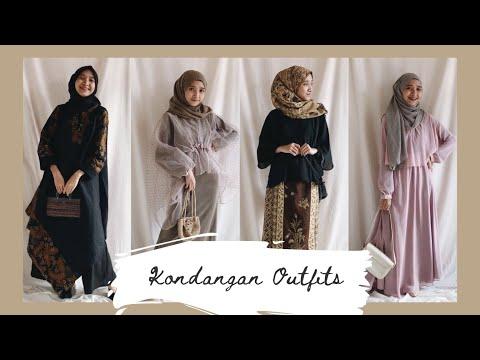 kondangan outfit  ideas // simple & basic #lookbook #hijab - YouTube