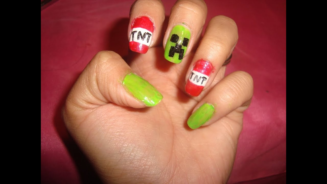 Minecraft Tutorial Creeper Nail Design Youtube