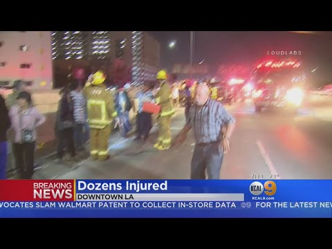 At Least 25 Hurt When Tour Bus Overturns On 10 Freeway In Pico-Union