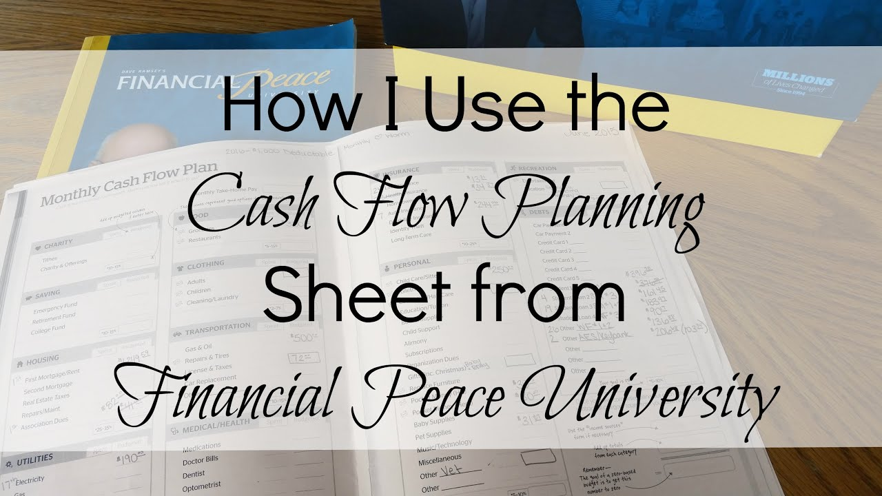 How I Use The Monthly Cash Flow Planning Sheet from Financial – Financial Peace Worksheets