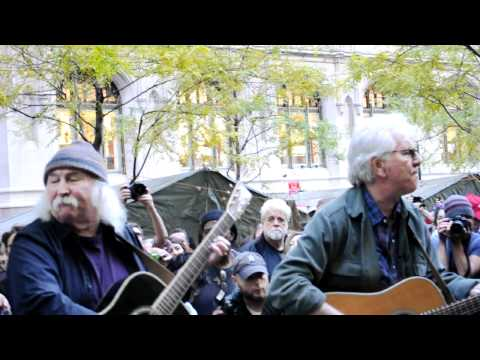 OCCUPY WALL STREET PROTEST ZUCCOTTI PARK DAVID CROSBY AND NASH ANTI-BANK SONG THEY WANT IT ALL