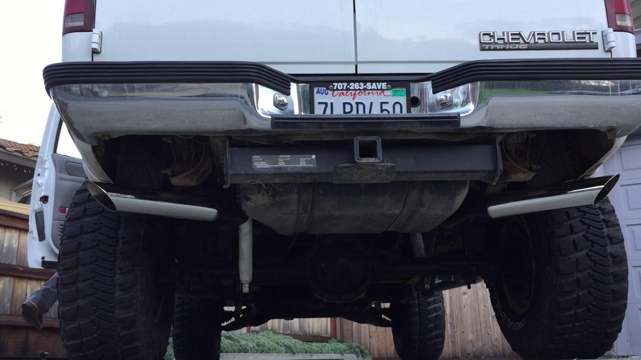 Silverado 99 chevy silverado exhaust : 1997 2 door Tahoe 5.7 Vortec Flowmaster true dual exhaust - YouTube
