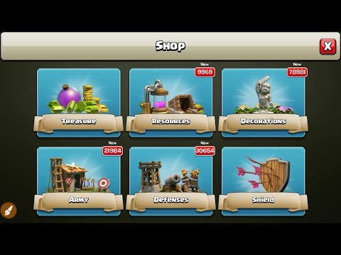 clash of clans  |- UNLIMITED Shop... ARMY, DEFENSES, DECORATION, RESOURCES & Shield etc.