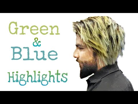 Green And Blue Highlights On Black Hair Men Blonde Highlights