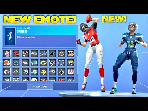 *NEW* SPIKE IT EMOTE SHOWCASE WITH ALL FORTNITE NFL SKINS Patriots Eagles Falcons & MORE
