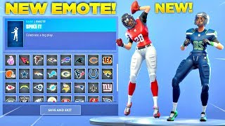 *NEW* SPIKE IT EMOTE SHOWCASE WITH ALL FORTNITE NFL SKINS! (Patriots, Eagles, Falcons & MORE)