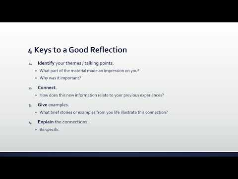 How To Write A Reflection Assignment