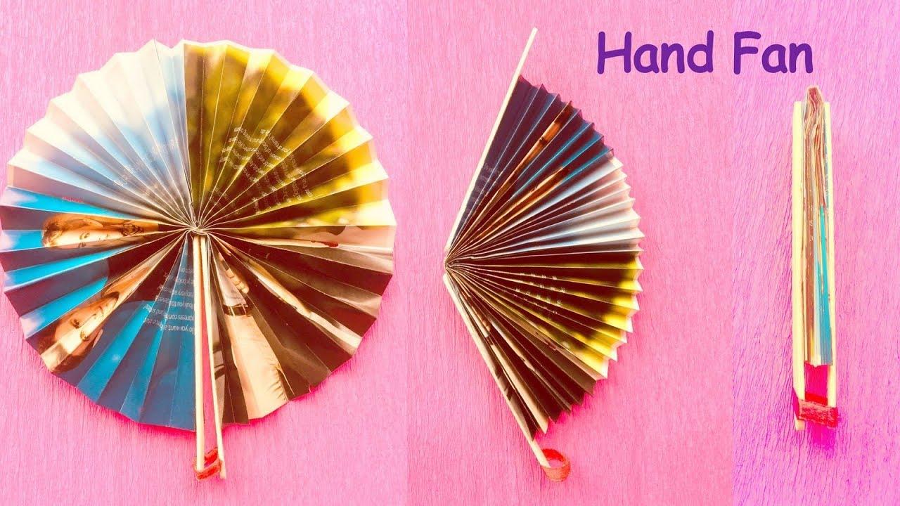 Diy Homemade Newspaper Hand Fan Best Out Of Waste Kids Craft