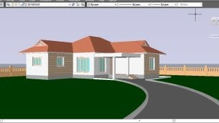 AUTOCAD 3D HOUSE   PART10-   PATHWAY AND PERSPECTIVE VIEW   3D PATHWAY