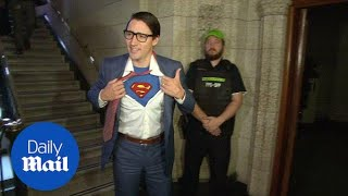 Trudeau trick-or-treats as Superman for Halloween - Daily Mail