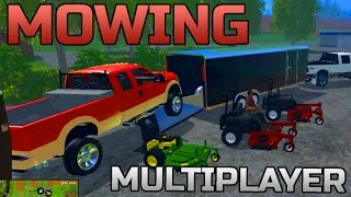 FARMING SIMULATOR 2015 | MULTIPLAYER MOWING! | NEW EQUIPMENT!
