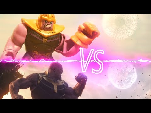 Lego Avengers Infinity War Thanos Throws a Moon Lego Stop Motion Side by Side Comparison