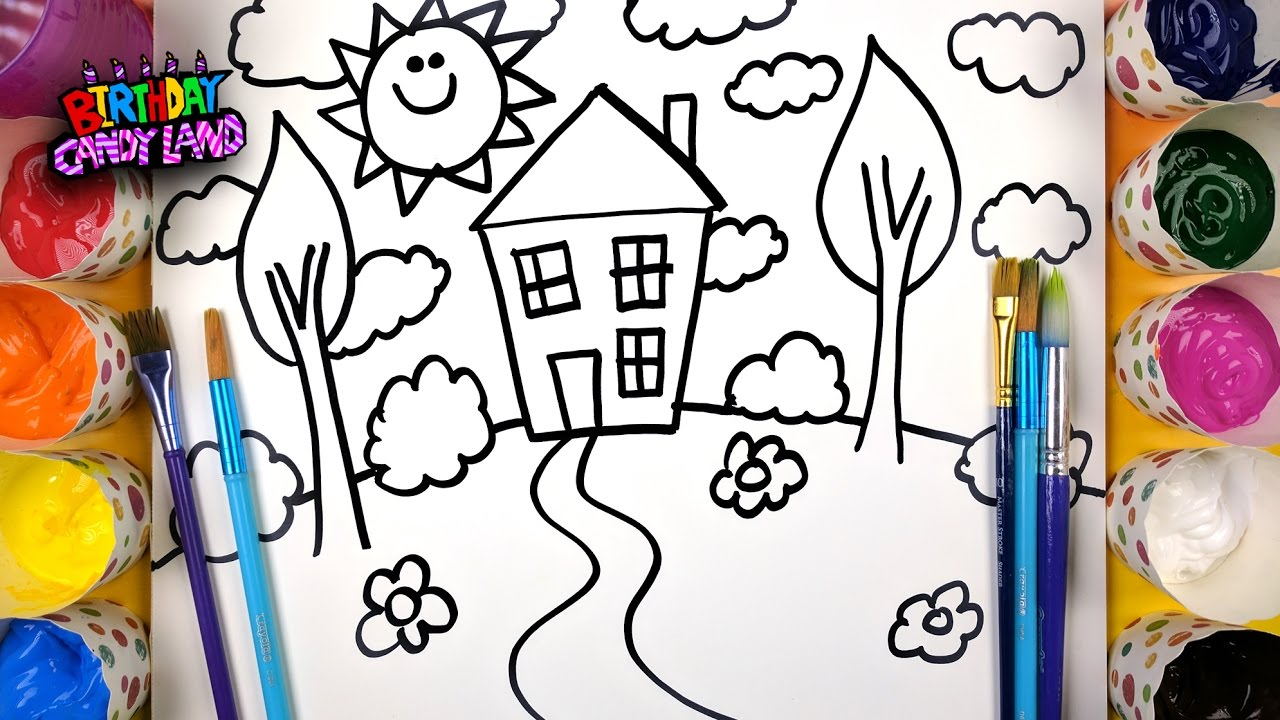 How to Draw and Paint a House for Kids to Learn Coloring and ...