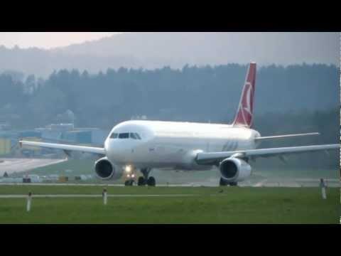 Turkish Airbus A321 evening take-off @ ZRH