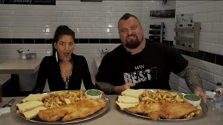 Food Challenge Vs Worlds Strongest Man EDDIE HALL! | Fish 'n' Chips | Fosters MaleVs Whale