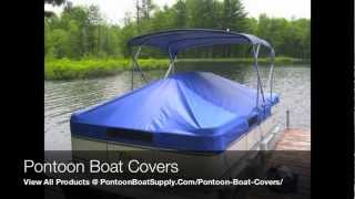 Pontoon Boat Covers With Snaps And Support System For Furniture Protection When Mooring