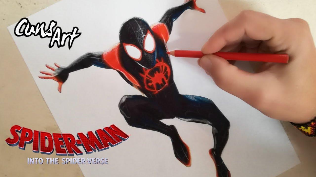 Como Dibujar A Spiderman Un Nuevo Universo Miles Morales How To Draw Spiderman