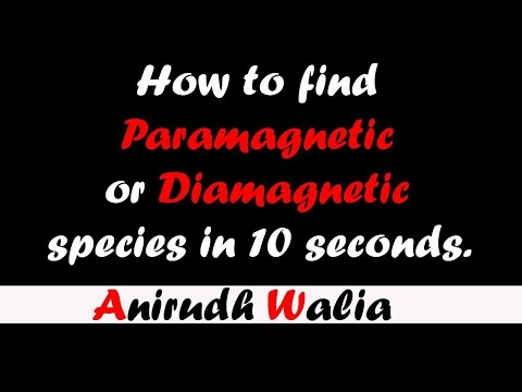Trick to find Paramagnetic and Diamagnetic Species in 10 seconds