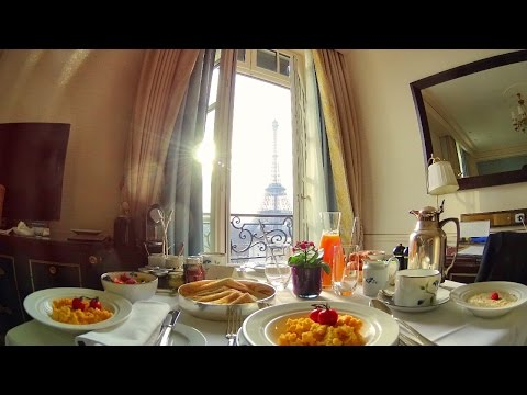 Breakfast with a view of the Eiffel Tower at the Shangri-La Paris