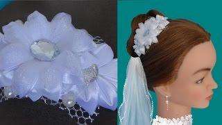 Свадебная заколка для волос своими руками. Канзаши. / DIY Wedding barrette for hair
