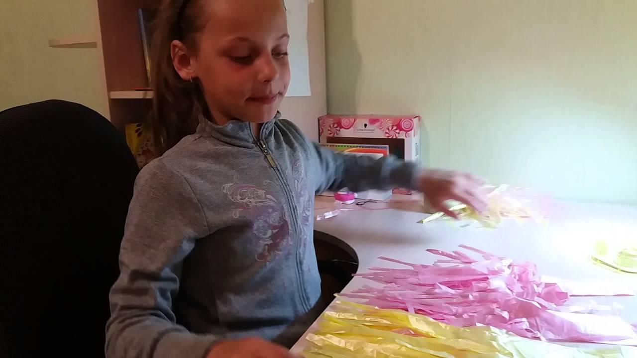 Как сделать из пакетов помпоны