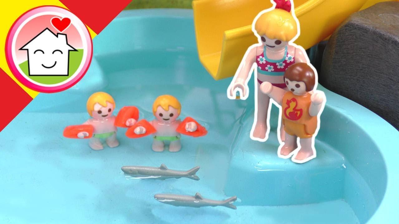 Playmobil en español Peces en la piscina - La familia Hauser