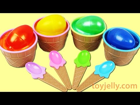 Learn Colors Kinder Egg Clay Slime Ice Cream Surprise Cupcake Toys Finger Family Song Nursery Rhymes