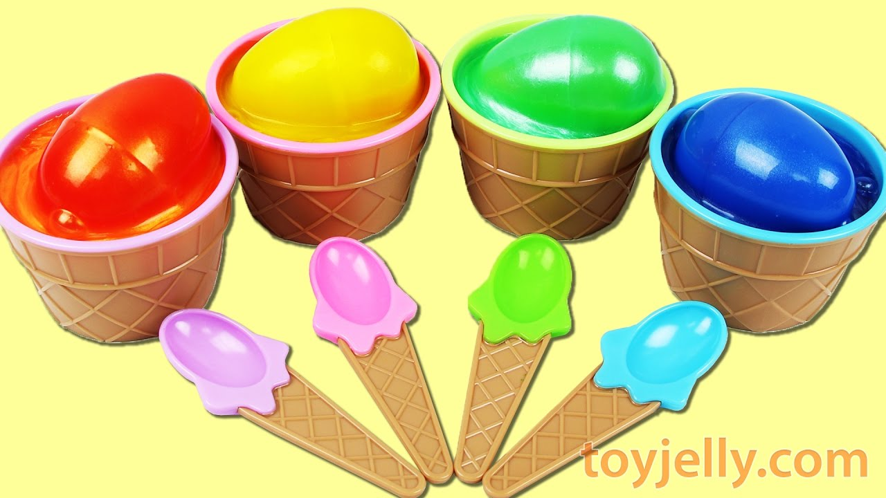 Learn Colors Kinder Egg Clay Slime Ice Cream Surprise