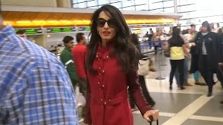Amal Clooney In Red Leather At LAX
