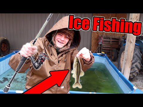 ICE FISHING In My POOL POND!
