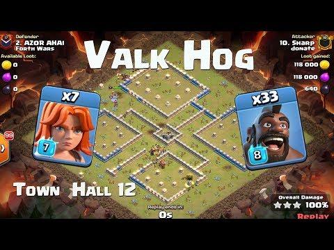 Valkyrie Hog Riders Clash of Clans 3 Stars | ValkHog Town Hall 12
