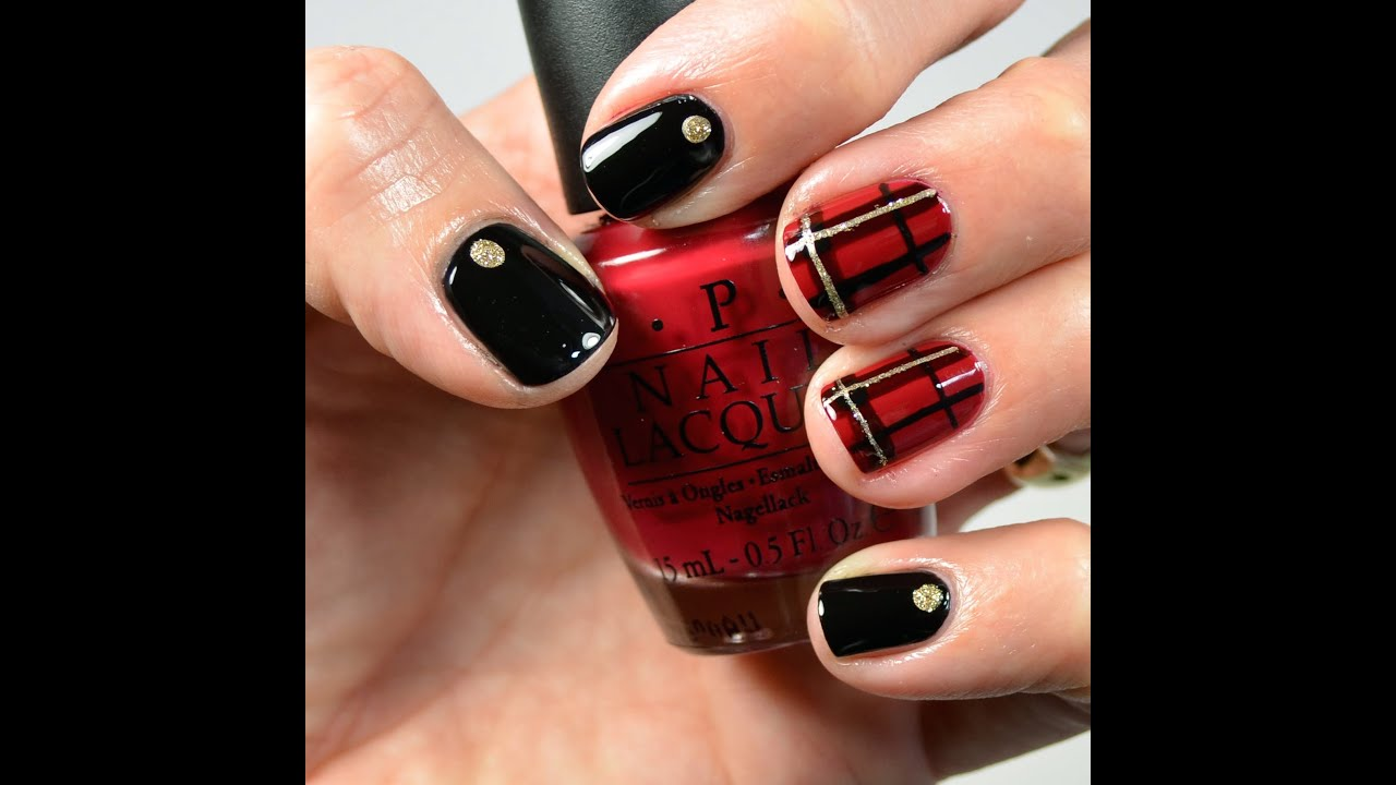 Nail Tutorial: Plaid (red, black and gold) - YouTube