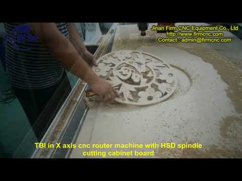 TBI in X axis cnc router machine with HSD spindle cutting cabinet board