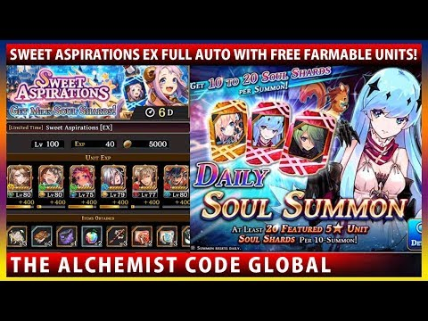 Full Auto With Farmable Units - Sweet Aspirations EX & Spica Daily Soul Summon (The Alchemist Code)