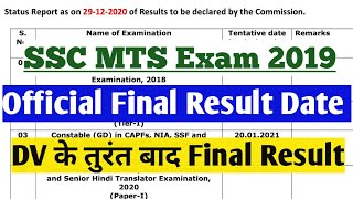 SSC MTS 2019 Final Result Date Released  SSC MTS 2019 Final Result Status Report