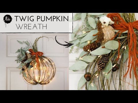 DIY Pumpkin Wreath |  USING TWIGS!! |  FALL DECO | Easy Pumpkin Decor |