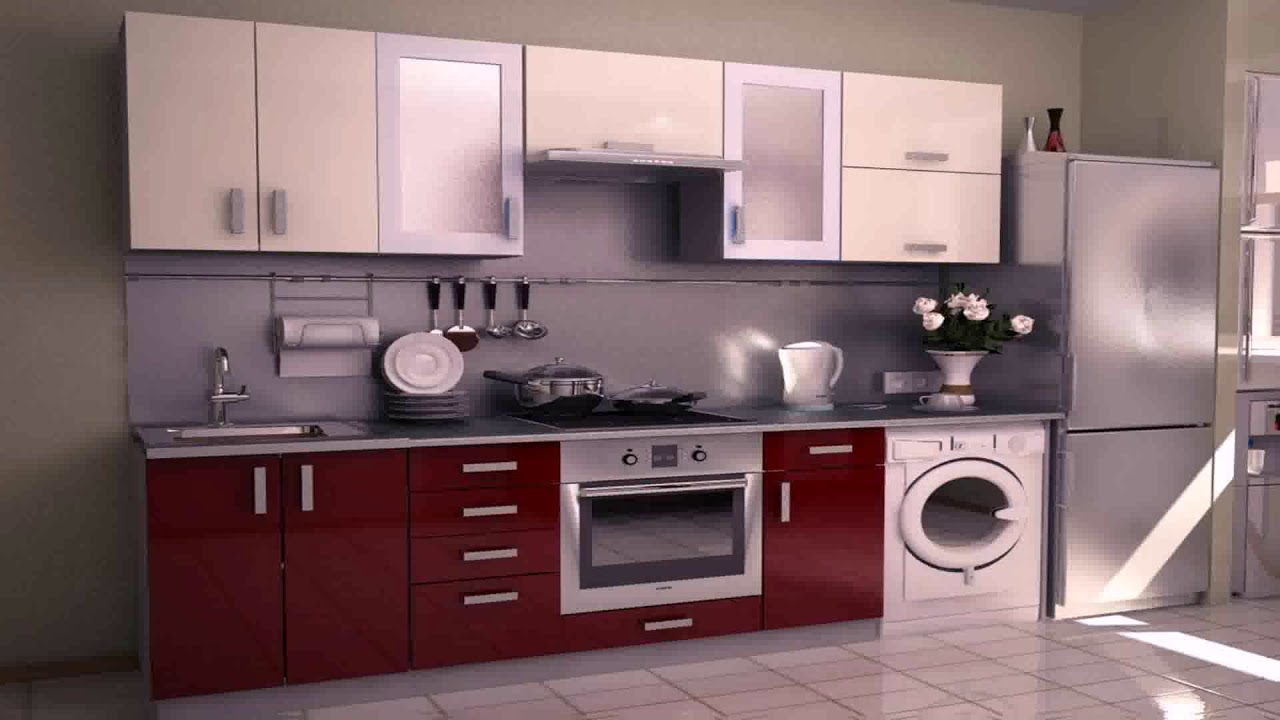 Modular Kitchen Designs Red White - YouTube