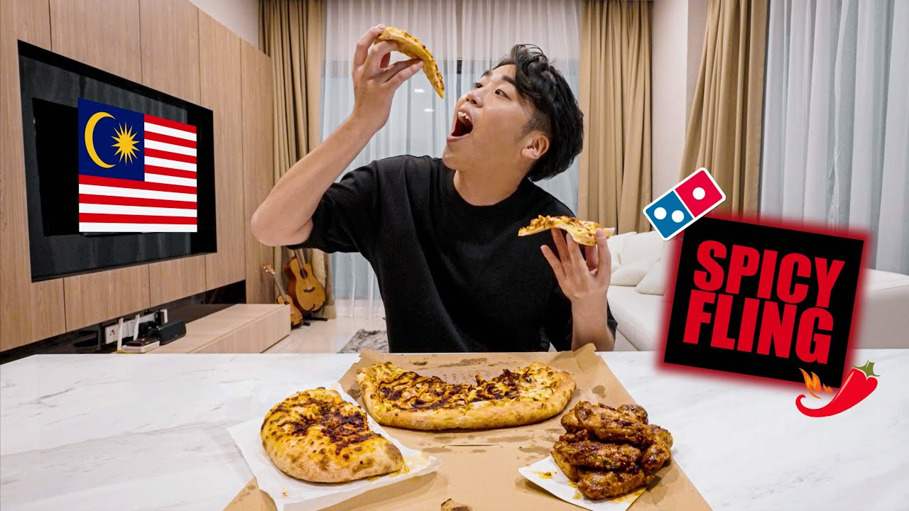 A Japanese Reviews Domino's New Top Secret Sauce Spicy Fling Pizza in Malaysia マレーシアのドミノピザ食べてみた