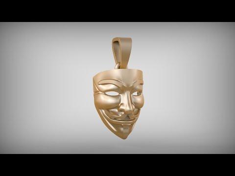 Подвеска - Маска Гая Фокса. Pendant - The Mask of Guy Fawkes. Blender 3D. Time lapse.