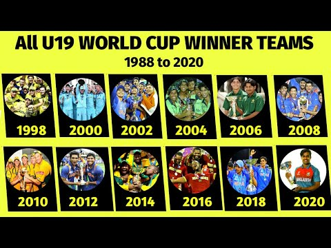 All Under 19 Cricket World Cup Winner Team List From 1988 To 2020 Youtube