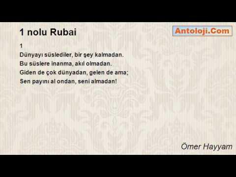 1 Nolu Rubai şiiri ömer Hayyam Youtube
