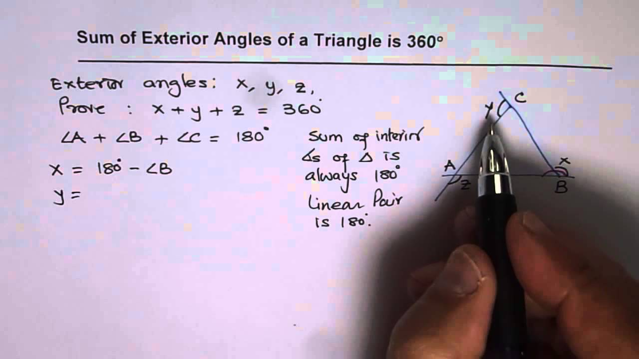 Prove that the sum of exterior angles in a triangle is 360 - Sum of the exterior angles of a triangle ...