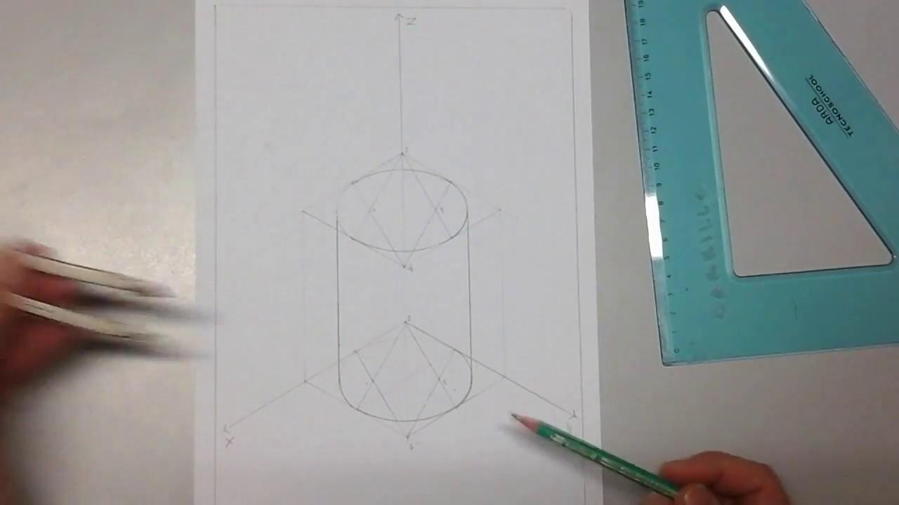 Assonometria isometrica di un cilindro - YouTube