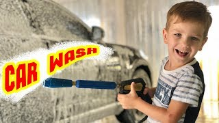 Mark washes the car at the car wash. Funny video for kids.