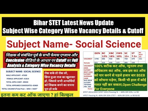 Bihar STET Social Science Category Wise Vacancy Details U0026 Cutoff,Applicants Appeared Candidates,STET