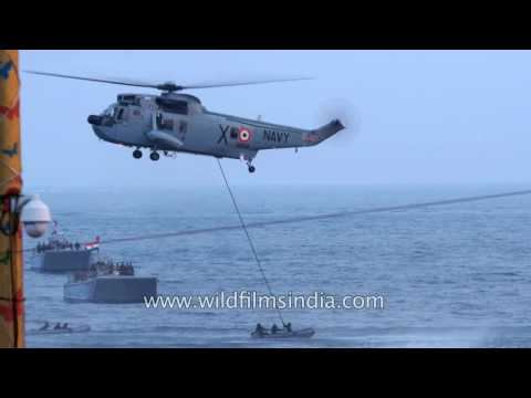 Indian marine commandos slip down Indian Navy's Sea-king 42 helicopter
